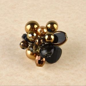 🖤💛 Black and Gold Beaded Adjustable Ring